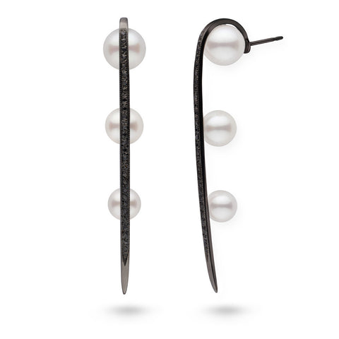 Long Curved Spike Pearl and Diamond Earrings in Black Rhodium