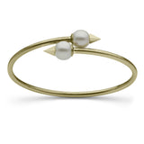 Faceted Spike and Pearl Bangle in Yellow Gold