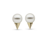Pearl Stud Earrings with Faceted Spikes in Yellow Gold