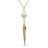 Faceted Spike and Pearl Pendant in Yellow Gold