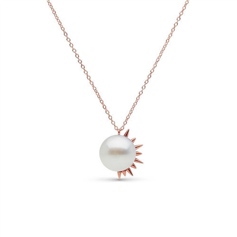 Side Spiked Pearl Pendant in Rose Gold