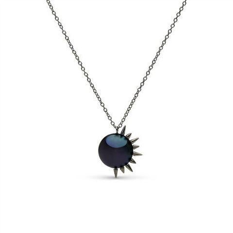 Side Spiked Pearl Pendant in Black Rhodium