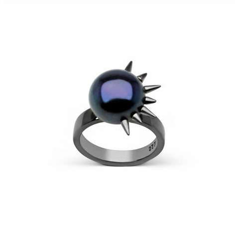 Side Spiked Pearl Ring in Black Rhodium