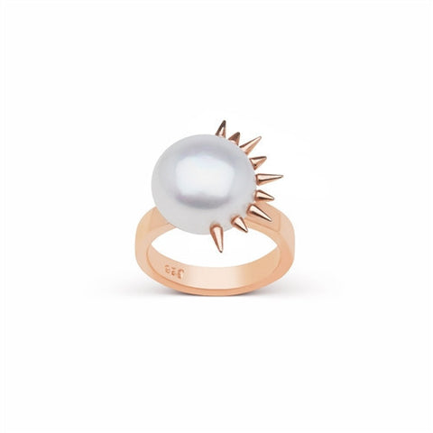 Side Spiked Pearl Ring in Rose Gold