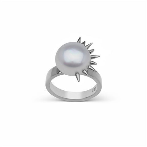 Side Spiked Pearl Ring in Sterling Silver