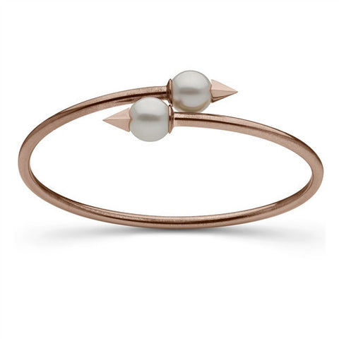 Faceted Spike and Pearl Bangle in Rose Gold
