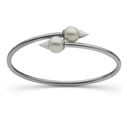 Faceted Spike and Pearl Bangle in Sterling Silver