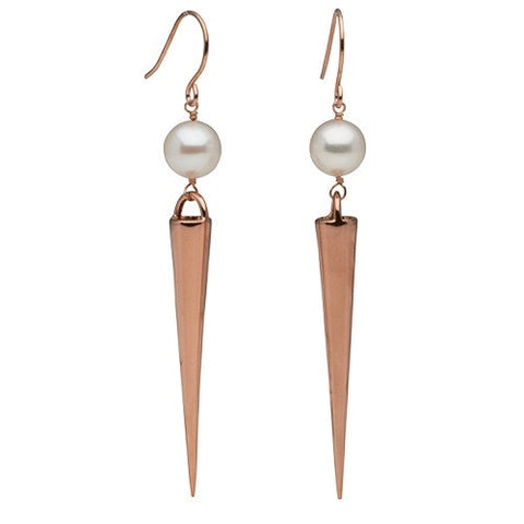 Long Spike Earrings with Pearls in Rose Gold