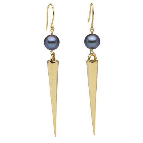 Long Spike Earrings with Pearls in Yellow Gold
