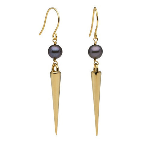 Medium Spike Earrings Freshwater Pearls in Yellow Gold