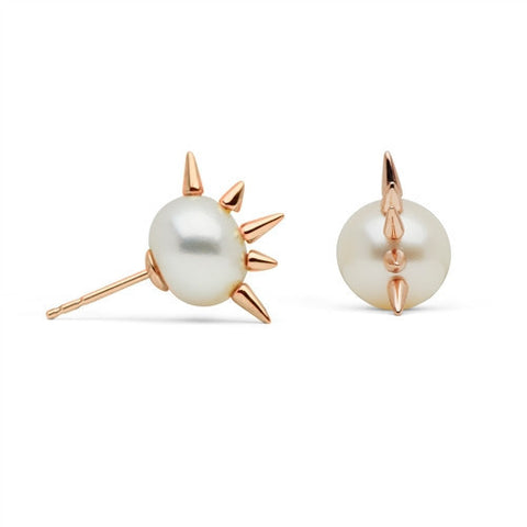 Center Spiked Pearl Studs in Rose Gold