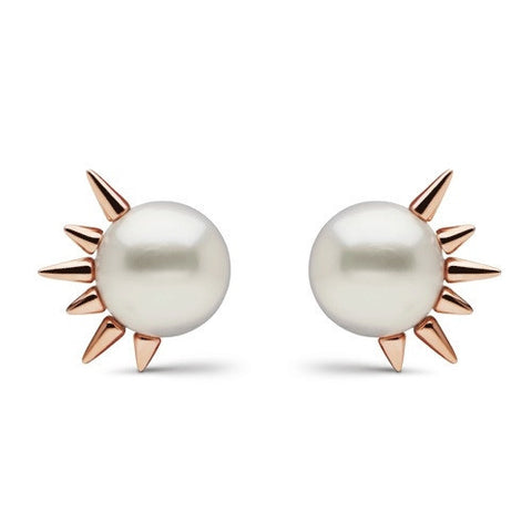 Side Spiked Pearl Studs in Rose Gold