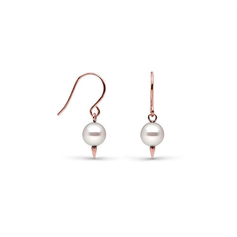 Dangle Pearl Earrings with Tiny Spikes in Rose Gold