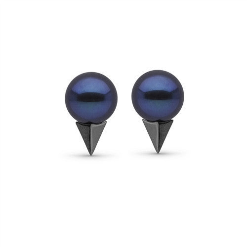 Pearl Stud Earrings with Faceted Spikes in Black Rhodium