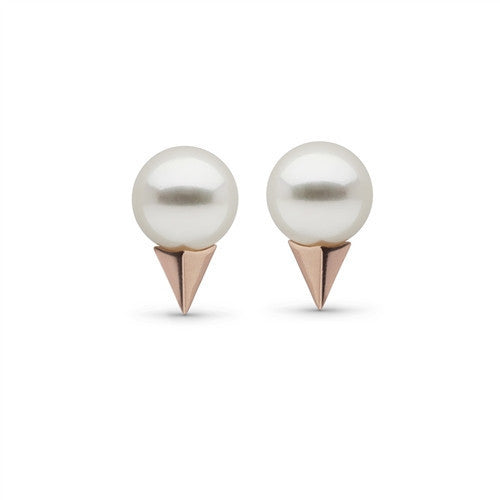 Pearl Stud Earrings with Faceted Spikes in Rose Gold
