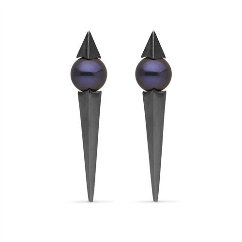 Pearl Stud Earrings with Double Spikes in Black Rhodium