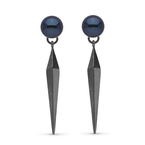 Pearl Dangle Earrings with Faceted Spike Back in Black Rhodium
