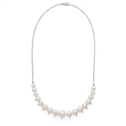 Graduated Spiked Pearl Necklace in Sterling Silver