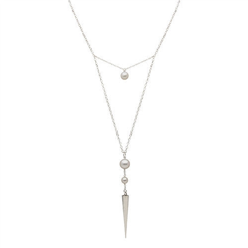 Long Spike and Pearl Pendant in Sterling Silver