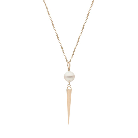 Medium Spike and Pearl Pendant in Yellow Gold
