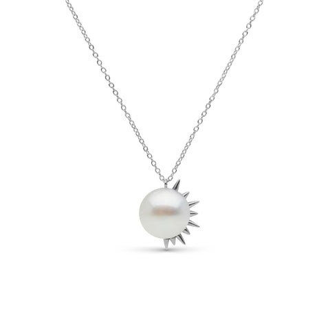 Side Spiked Pearl Pendant in Sterling Silver