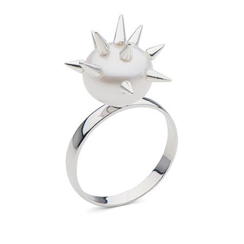 Spiked Pearl Ring in Sterling Silver