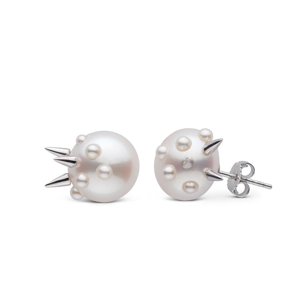 Small Stiletto Spike Pearl Earrings in Sterling Silver