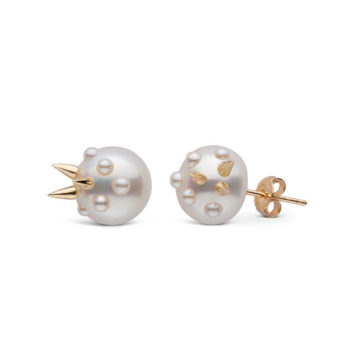 Small Stiletto Spike Pearl Earrings in Yellow Gold