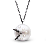 Stiletto Spike Pearl Pendant in Black Rhodium