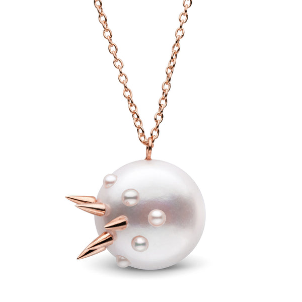 Stiletto Spike Pearl Pendant in Rose Gold