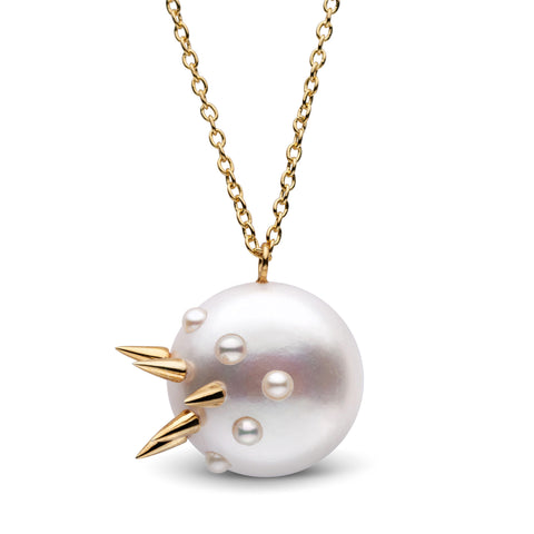 Stiletto Spike Pearl Pendant in Yellow Gold