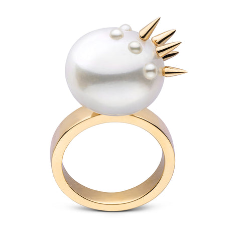 Stiletto Spike Pearl Ring in Yellow Gold