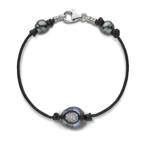 Tahitian Pearl & Diamond Reversible Bracelet in White Gold