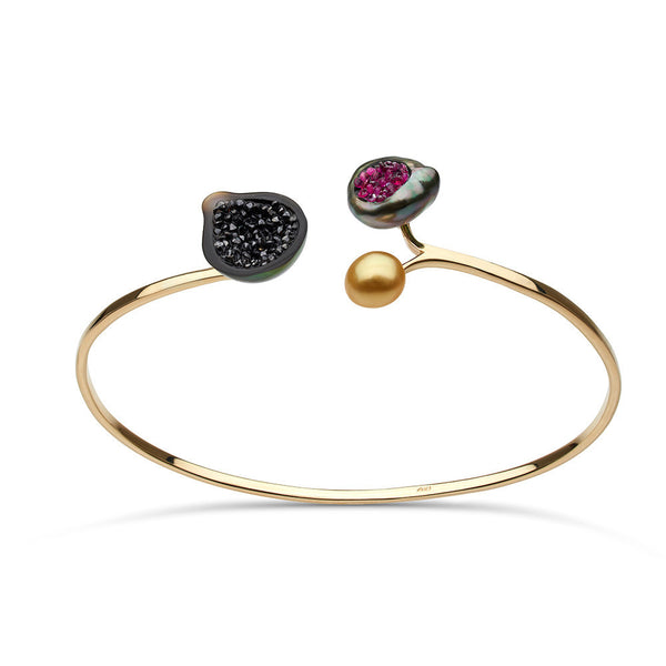 3 Pearl Geode Bracelet with Black Diamond and Ruby