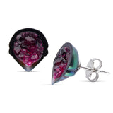 Tahitian Pearl Geode Stud Earrings with Rubies