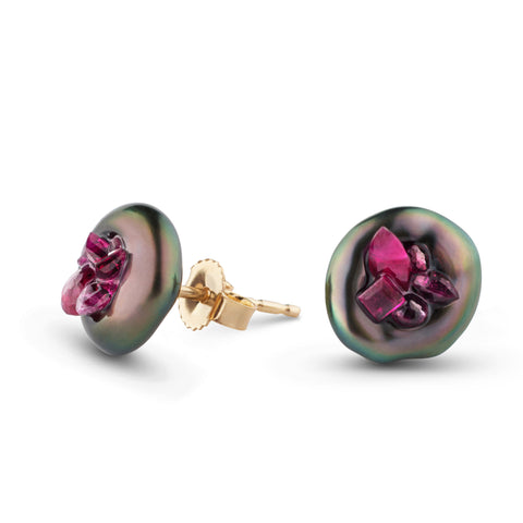Point Collection Tahitian Pearl Ruby Stud Earrings