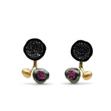 3 Pearl Earrings in Black Diamond and Ruby
