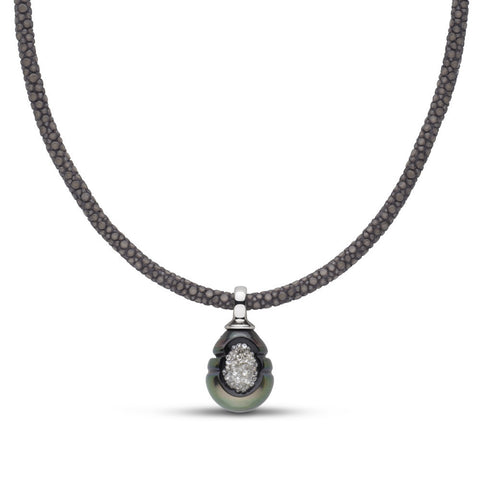 Tahitian Pearl & Diamond Reversible Pendant in White Gold