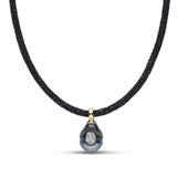 Tahitian Pearl & Diamond Reversible Pendant in Yellow Gold