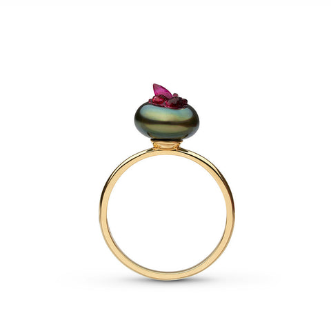 Point Collection Tahitian Pearl and Ruby Ring