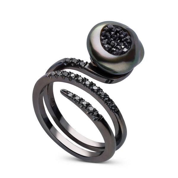 Tahtian Keshi Pearl and Black Diamond Ring