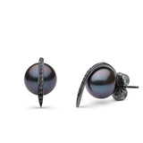 Curved Spike Tahitian Pearl and Diamond Earrings in Black Rhodium
