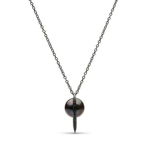 Curved Spike Tahitian Pearl and Diamond Pendant in Black Rhodium