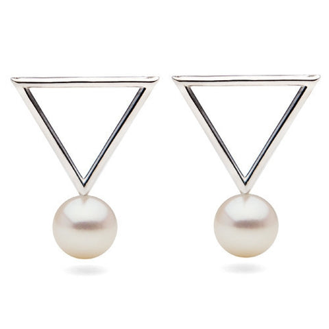 Freshwater Pearl Short Triangle Earrings in Sterling Silver