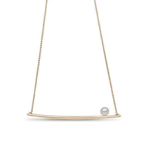 Pearl Bar Pendant in 14k Yellow Gold