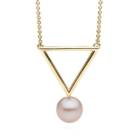Freshwater Pearl Short Triangle Pendant in 14k Yellow Gold