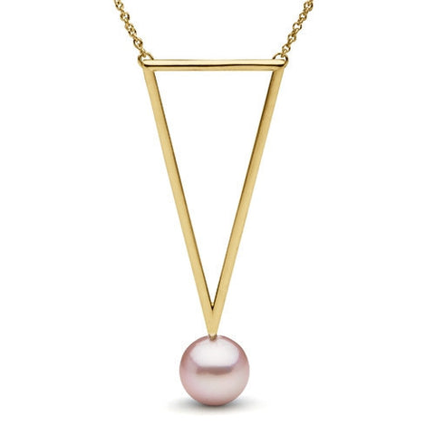 Freshwater Pearl Long Triangle Pendant in Yellow Gold