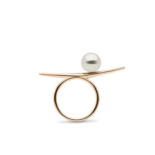Arabesque Pearl Ring in 14k Yellow Gold