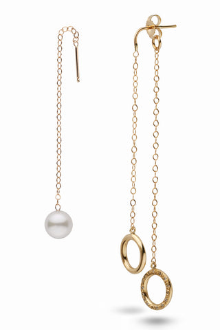 Akoya Pearl and Diamond Threader Style Earrings in 14k Yellow Gold