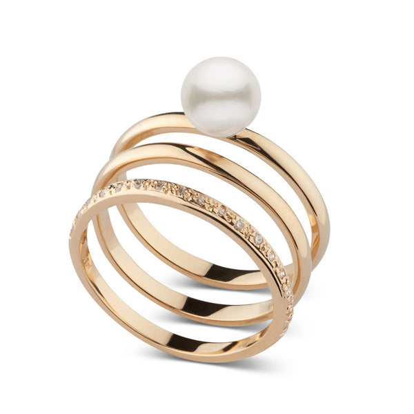 Akoya Pearl and Diamond Stacking Ring Set in 14k Yellow Gold